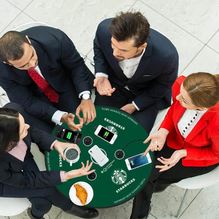 Зарядная станция стол для беспроводной Qi зарядки телефонов Soho StarBucks